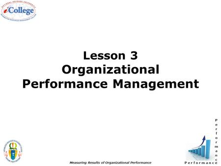 P e r f o r m a n c e Measuring Results of Organizational Performance Lesson 3 Organizational Performance Management.