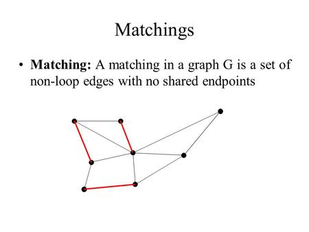 Matchings Matching: A matching in a graph G is a set of non-loop edges with no shared endpoints.