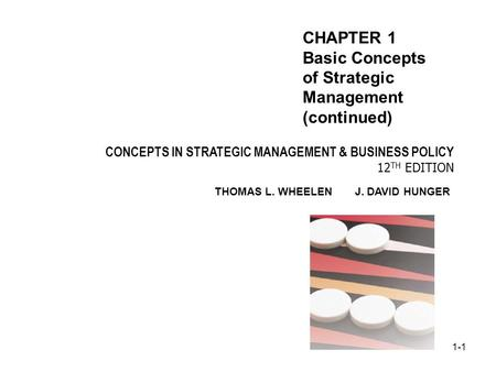 1-1 CONCEPTS IN STRATEGIC MANAGEMENT & BUSINESS POLICY 12 TH EDITION THOMAS L. WHEELEN J. DAVID HUNGER CHAPTER 1 Basic Concepts of Strategic Management.