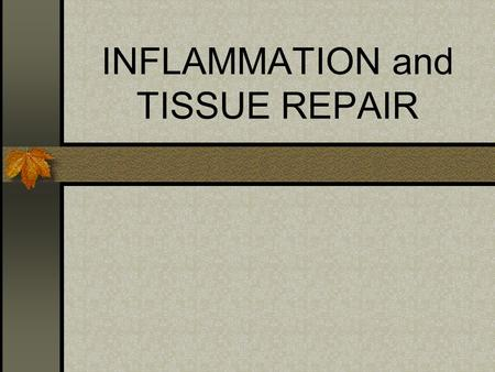 INFLAMMATION and TISSUE REPAIR. Inflammatory Response Occurs when tissue is irritated or damaged Coordinated local response involves Mast Cells Macrophages.