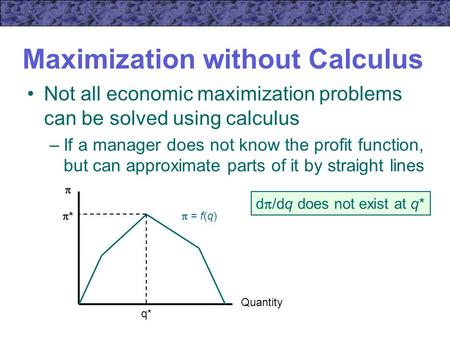 Maximization without Calculus Not all economic maximization problems can be solved using calculus –If a manager does not know the profit function, but.