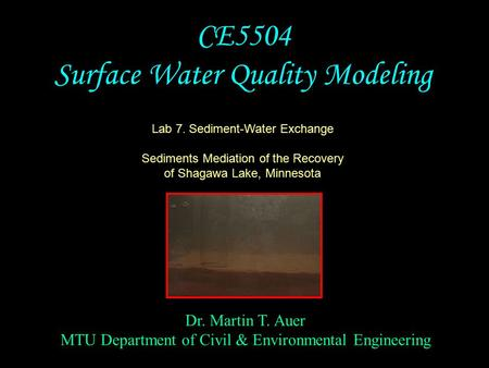 Dr. Martin T. Auer MTU Department of Civil & Environmental Engineering CE5504 Surface Water Quality Modeling Lab 7. Sediment-Water Exchange Sediments Mediation.