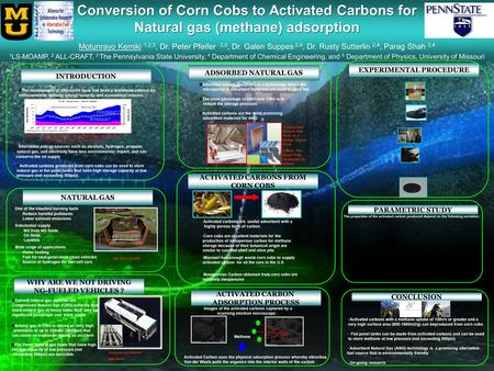 Conversion of Corn Cobs to Activated Carbons for Natural gas (methane) adsorption Conversion of Corn Cobs to Activated Carbons for Natural gas (methane)