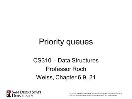 Priority queues CS310 – Data Structures Professor Roch Weiss, Chapter 6.9, 21 All figures marked with a chapter and section number are copyrighted © 2006.