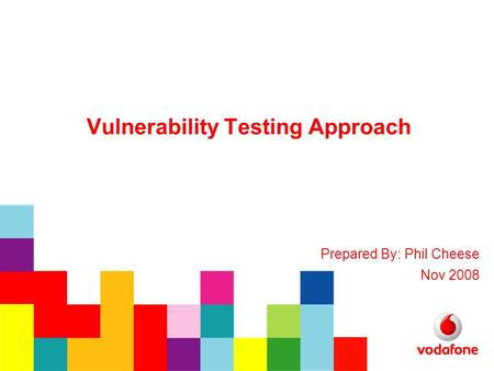 Vulnerability Testing Approach Prepared By: Phil Cheese Nov 2008.