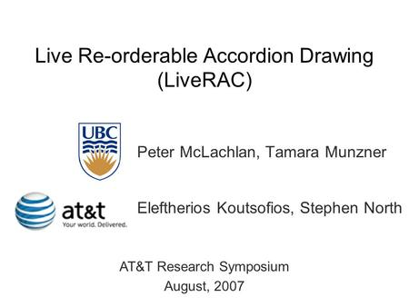 Live Re-orderable Accordion Drawing (LiveRAC) Peter McLachlan, Tamara Munzner Eleftherios Koutsofios, Stephen North AT&T Research Symposium August, 2007.