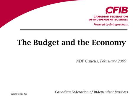 Www.cfib.ca The Budget and the Economy NDP Caucus, February 2009 Canadian Federation of Independent Business.