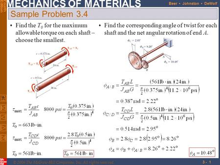 © 2006 The McGraw-Hill Companies, Inc. All rights reserved. MECHANICS OF MATERIALS FourthEdition Beer Johnston DeWolf 3 - 1 Find the T 0 for the maximum.
