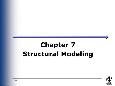 Slide 1 Chapter 7 Structural Modeling. Slide 2 Key Ideas A structural or conceptual model describes the structure of the data that supports the business.