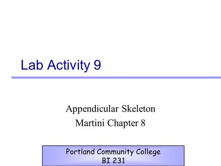 Lab Activity 9 Appendicular Skeleton Martini Chapter 8 Portland Community College BI 231.