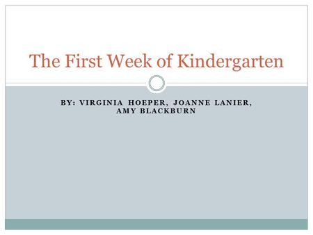 BY: VIRGINIA HOEPER, JOANNE LANIER, AMY BLACKBURN The First Week of Kindergarten.