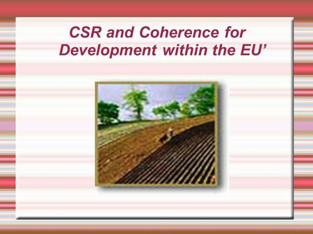 CSR and Coherence for Development within the EU'.