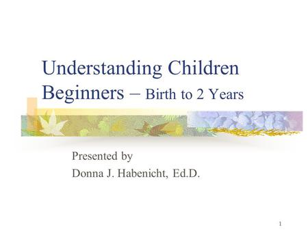 1 Understanding Children Beginners – Birth to 2 Years Presented by Donna J. Habenicht, Ed.D.