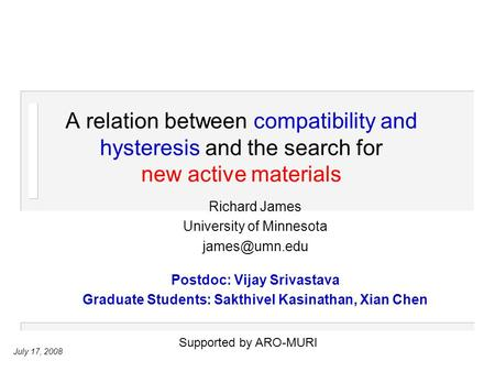 July 17, 2008 A relation between compatibility and hysteresis and the search for new active materials Richard James University of Minnesota