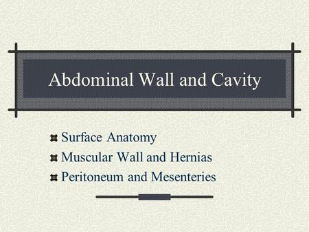 Abdominal Wall and Cavity Surface Anatomy Muscular Wall and Hernias Peritoneum and Mesenteries.