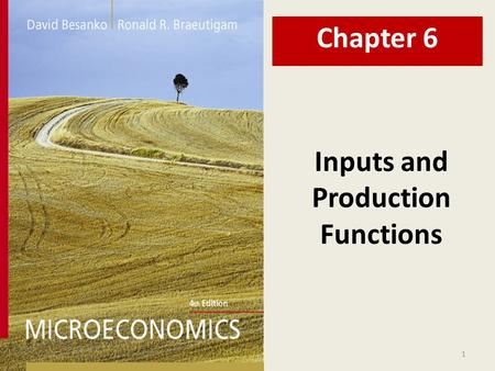 1 Inputs and Production Functions Chapter 6. 2 Chapter Six Overview 1.Motivation 2.The Production Function  Marginal and Average Products  Isoquants.