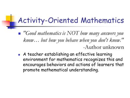 Activity-Oriented Mathematics