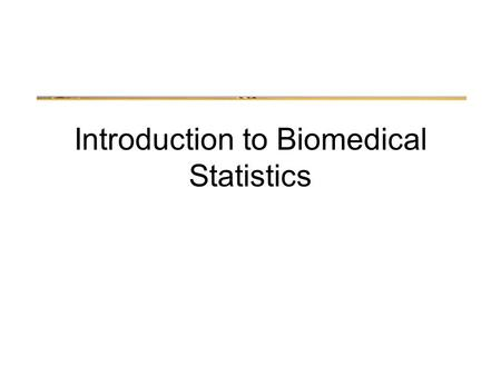 "Introduction to Biomedical Statistics. Signal Detection Theory What do we actually ""detect"" when we say we've detected something?"