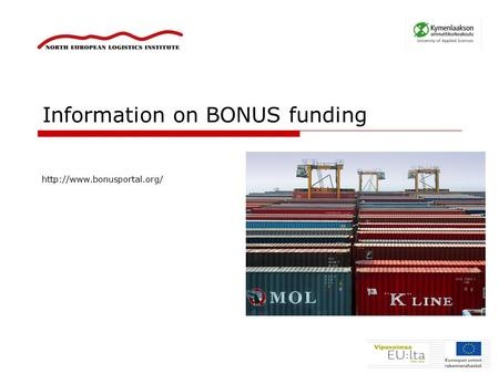 Information on BONUS funding