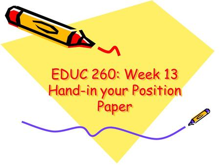 EDUC 260: Week 13 Hand-in your Position Paper. Overview Administrivia Ethics of computing in classrooms What did we learn in the course? Course evaluations.