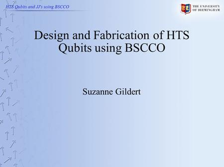 HTS Qubits and JJ's using BSCCO Design and Fabrication of HTS Qubits using BSCCO Suzanne Gildert.