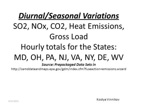 Diurnal/Seasonal Variations SO2, NOx, CO2, Heat Emissions, Gross Load Hourly totals for the States: MD, OH, PA, NJ, VA, NY, DE, WV Source: Prepackaged.