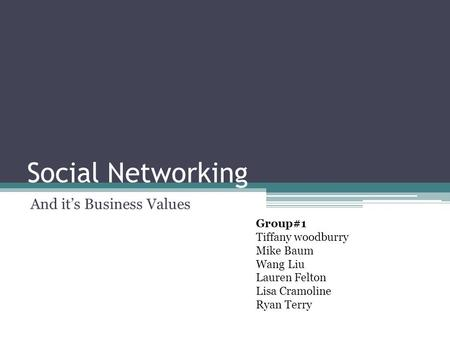 Social Networking And it's Business Values Group#1 Tiffany woodburry Mike Baum Wang Liu Lauren Felton Lisa Cramoline Ryan Terry.