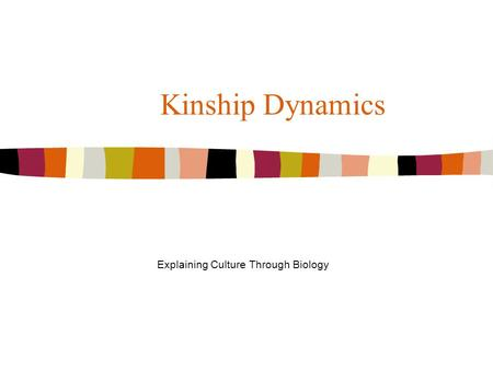 Kinship Dynamics Explaining Culture Through Biology.