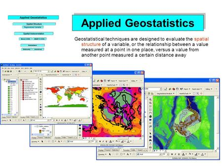 Applied Geostatistics Geostatistical techniques are designed to evaluate the spatial structure of a variable, or the relationship between a value measured.