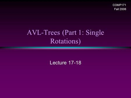 AVL-Trees (Part 1: Single Rotations) Lecture 17-18 COMP171 Fall 2006.