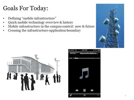 "Goals For Today: 1 Defining ""mobile infrastructure"" Quick mobile technology overview & history Mobile infrastructure in the campus context: now & future."