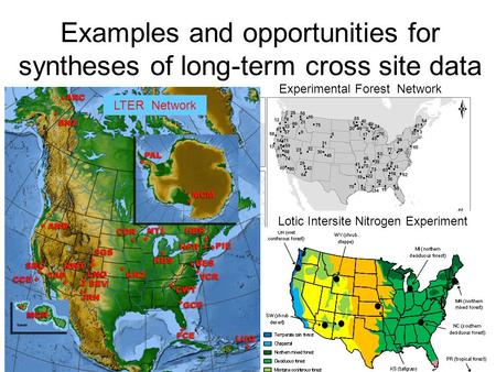 Examples and opportunities for syntheses of long-term cross site data LTER Network Experimental Forest Network Lotic Intersite Nitrogen Experiment.