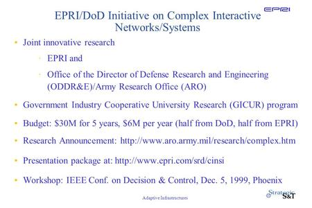 Adaptive Infrastructures EPRI/DoD Initiative on Complex Interactive Networks/Systems Joint innovative research ·EPRI and ·Office of the Director of Defense.