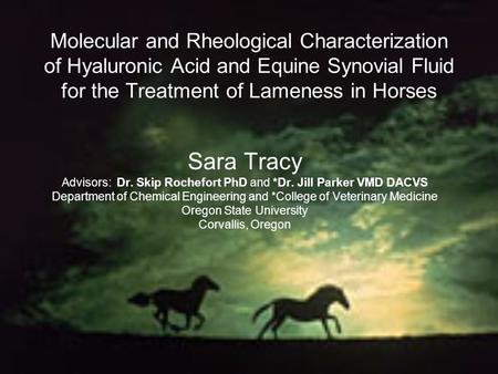 Molecular and Rheological Characterization of Hyaluronic Acid and Equine Synovial Fluid for the Treatment of Lameness in Horses Sara Tracy Advisors: Dr.