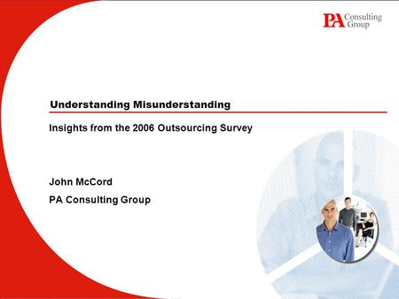 Understanding Misunderstanding Insights from the 2006 Outsourcing Survey John McCord PA Consulting Group.