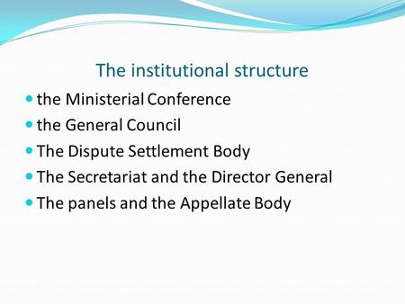 The institutional structure the Ministerial Conference the General Council The Dispute Settlement Body The Secretariat and the Director General The panels.