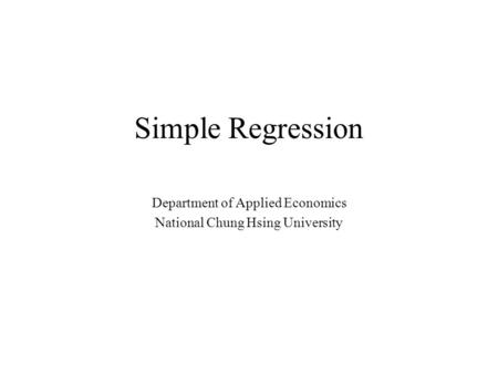 Department of Applied Economics National Chung Hsing University