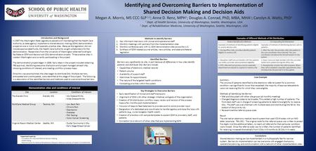 Identifying and Overcoming Barriers to Implementation of Shared Decision Making and Decision Aids Megan A. Morris, MS CCC-SLP 1,2 ; Anne D. Renz, MPH 1.