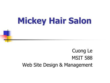 Mickey Hair Salon Cuong Le MSIT 588 Web Site Design & Management.