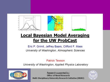 Patrick Tewson University of Washington, Applied Physics Laboratory Local Bayesian Model Averaging for the UW ProbCast Eric P. Grimit, Jeffrey Baars, Clifford.