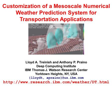 Customization of a Mesoscale Numerical Weather Prediction System for Transportation Applications Lloyd A. Treinish and Anthony P. Praino Deep Computing.