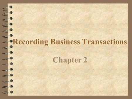 Recording Business Transactions Chapter 2 Use accounting terms Objective 1.