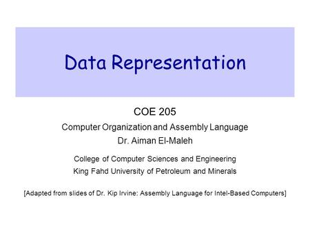 Data Representation COE 205