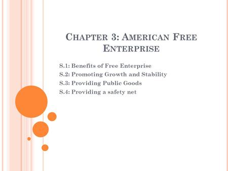 C HAPTER 3: A MERICAN F REE E NTERPRISE S.1: Benefits of Free Enterprise S.2: Promoting Growth and Stability S.3: Providing Public Goods S.4: Providing.