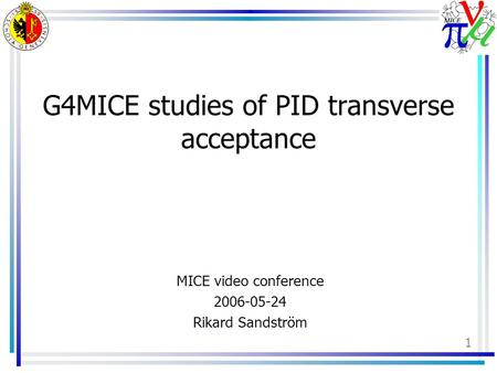 1 G4MICE studies of PID transverse acceptance MICE video conference 2006-05-24 Rikard Sandström.
