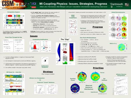 MI Coupling Physics: Issues, Strategies, Progress William Lotko 1, Peter Damiano 1, Mike Wiltberger 2, John Lyon 1,2, Slava Merkin 3, Oliver Brambles 1,