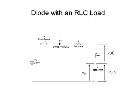 Diode with an RLC Load v L (t) v C (t) V Co. Close the switch at t = 0 V Co.