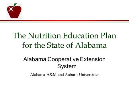 The Nutrition Education Plan for the State of Alabama Alabama Cooperative Extension System Alabama A&M and Auburn Universities.