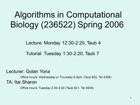 1 Algorithms in Computational Biology (236522) Spring 2006 Lecturer: Golan Yona Office hours: Wednesday or Thursday 2-3pm (Taub 632, Tel 4356) TA: Itai.