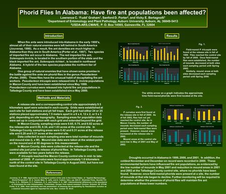 Phorid Flies In Alabama: Have fire ant populations been affected? Lawrence C. 'Fudd' Graham 1, Sanford D. Porter 2, and Vicky E. Bertagnolli 1 1 Department.